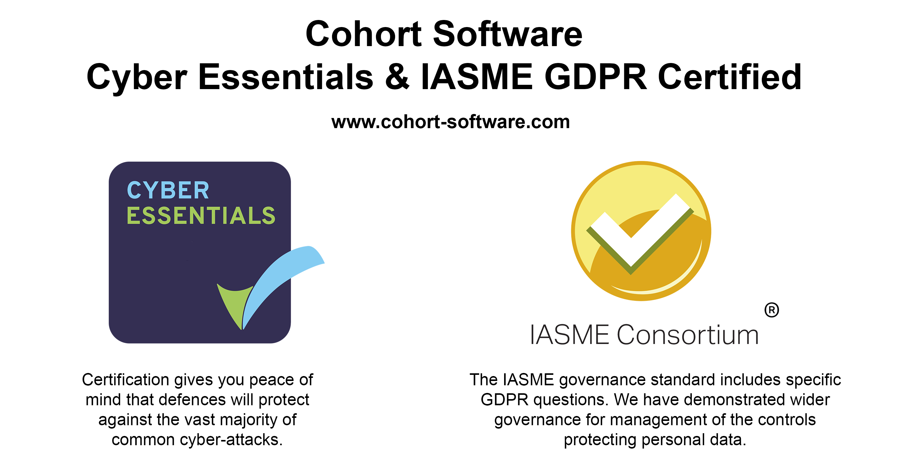Cyber Essentials and IASME GDPR certifications achieved by Cohort Software